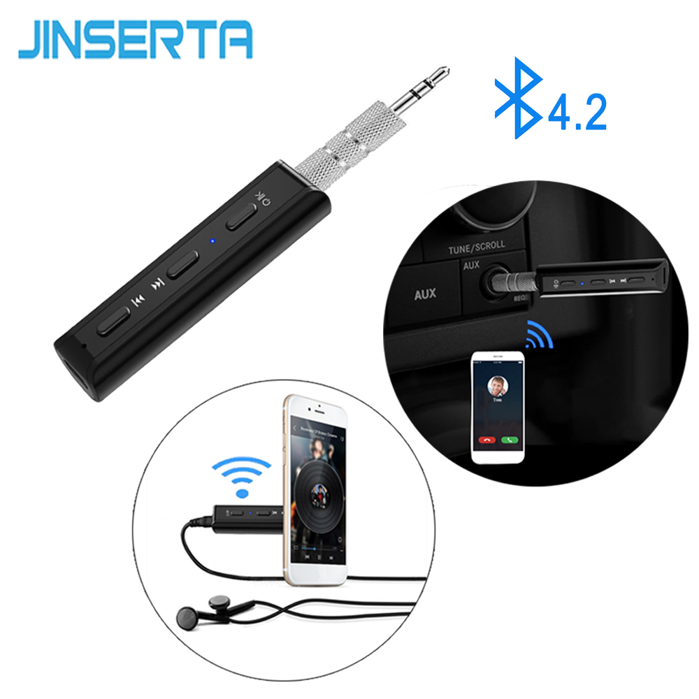 JINSERTA Hands free Car Kit Mini Bluetooth 4.2 Audio Receiver Adapter 3.5mm AUX Stereo for Car Speaker Earphone Music Receivers usb