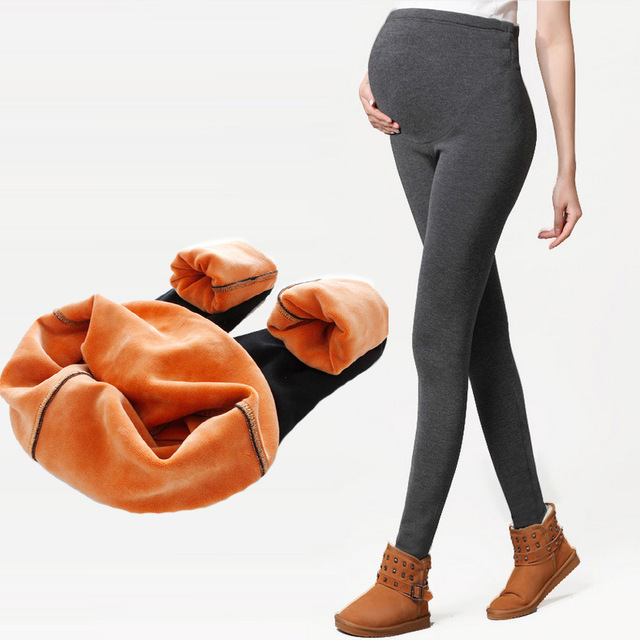 Women Clothing Maternity Clothes Winter Leggings Thickened With Velvet Pregnant Women Trousers Warm Pants SYHB12505