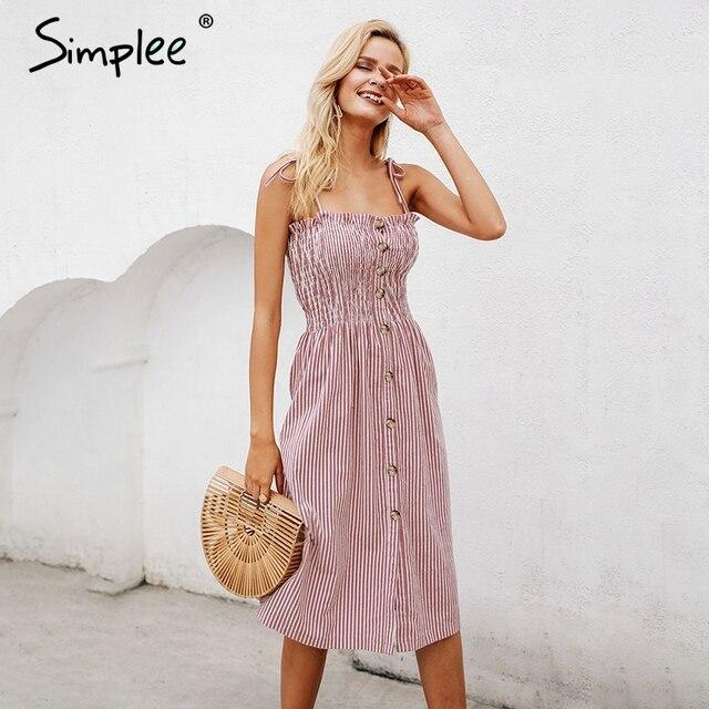 Летнее женское повседневное платье Simplee, на тонких бретелях с разрезом, полосатый хлопковый элегантный розовый праздничный пляжный сарафан на пуговицах
