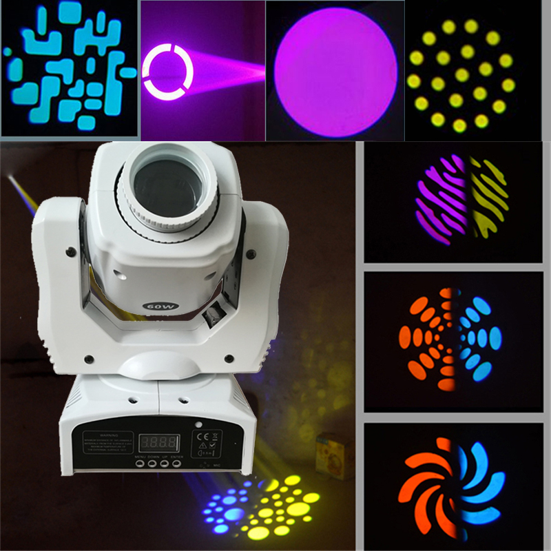 White Shell Mini Spot 60W LED Moving Head Light With Gobos Plate&Color Plate,High Brightness 60W DMX512 Led Moving Head Light