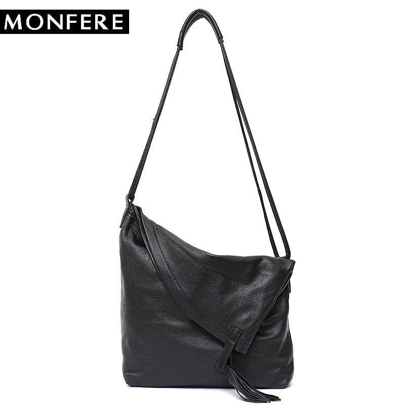 MONFERE Real Leather Vintage Lady Tote Bag Casual Design Large Genuine Leather Handbags Ladies Tassel Messenger Cross body Bags high quality chinese element genuine leather women fashion vintage handbags retro floral casual lady cross body messenger bags