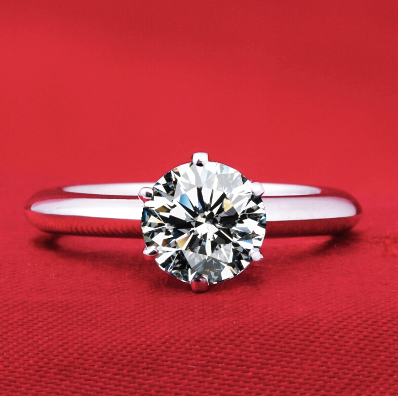 1.5 ct synthetic diamond fashion ring 925 sterling silver female wedding solitaire ring classic simple design (DFE)