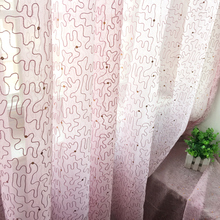 Pink Europe Embroidered Custom made finished curtain custom window tulle curtain for living room baby room Window screening
