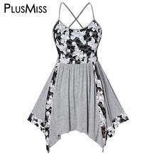 PlusMiss Plus Size 5XL Floral Lace Patchwork Beach Boho Tunic Cami Top Women XXXXL XXXL Summer Camisole Big Size Sleeveless Vest