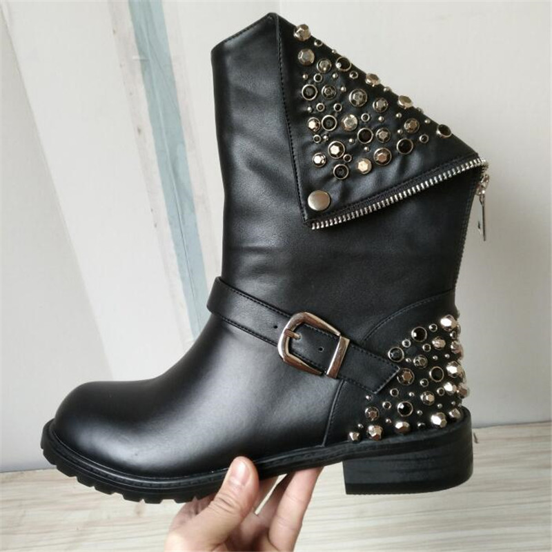 New Black Solid Rivet Metal Decoration Buckle Punk Style Women Motorcycle Boots Low Heel Zipper Ankle Boots Short Martain Shoes women martin boots 2017 autumn winter punk style shoes female genuine leather rivet retro black buckle motorcycle ankle booties