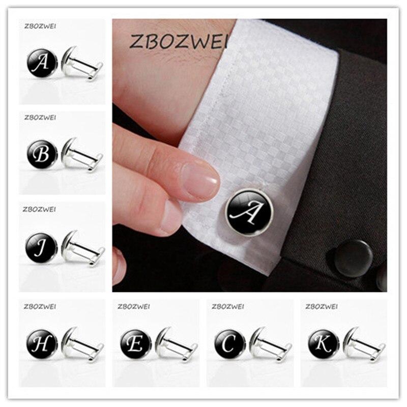 ZBOZWEI A-Z Single Alphabet Cufflinks Silver Color Letter Cufflink for Male French Shirt Wedding Cufflinks High Quality Bottom все цены