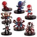 7 pcs Super heróis homem Aranha figuras de ação conjunto de 2016 Novos 8 centímetros Q versão vermelho preto Homem-Aranha X-men figuras homem de ferro brinquedos