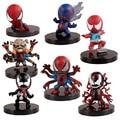 7pcs Super heros Spider man action figurines set 2016 New 8 cm Q version red black Spiderman X-Men figuras homem de ferro toys