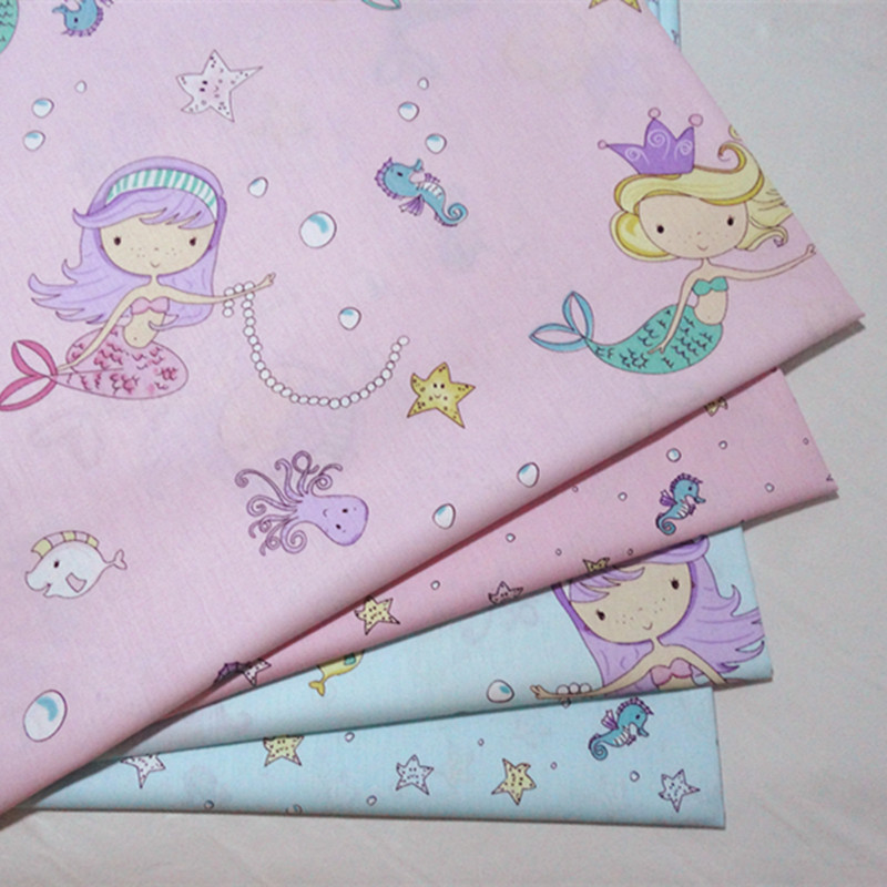 half meter mermaid princess 100% cotton twill fabric pure cotton infant bedding cloth children bed sheet bed sack tissue A540
