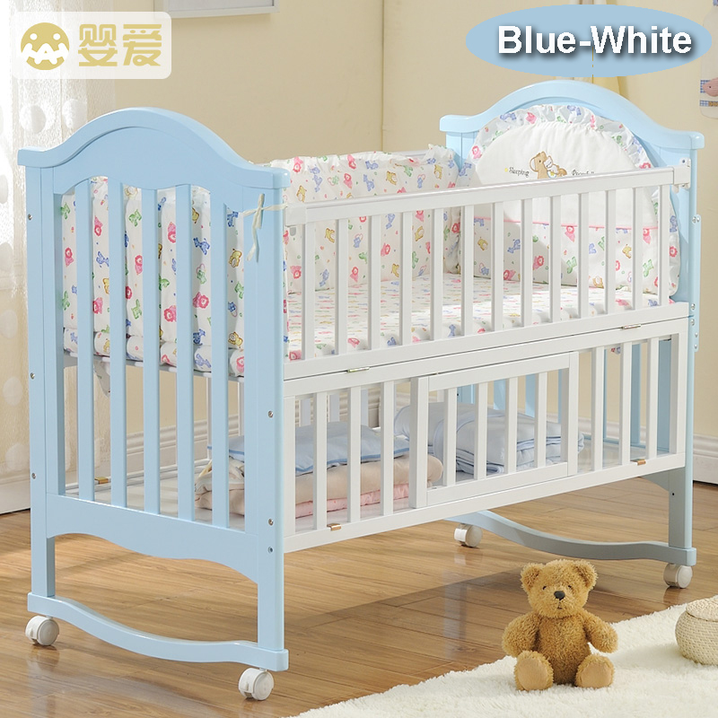 Top Natural Wood Baby Crib Kids Bed Multi Function Solid Newzeland  GX34