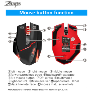 Image 4 - ZELOTES F 18 Dual mode Gaming Mouse6 Level 3200DPI 500Hz Wireless 7 Color Computer Mouse  2.4GHz With Mini USB