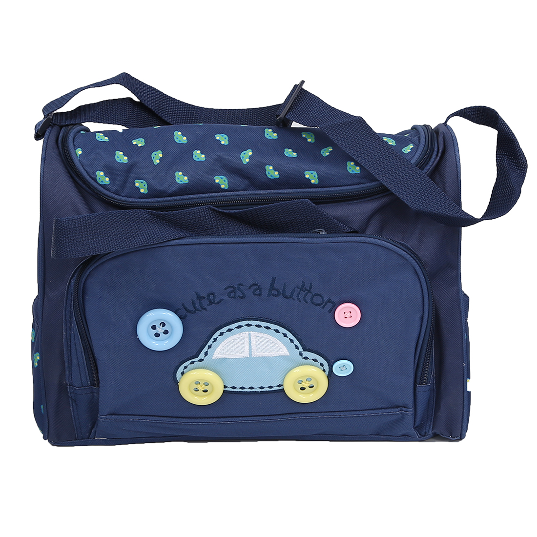 4pcs Cute As Button Embroidery Baby Nappy Changing Bags Sets Dark Blue