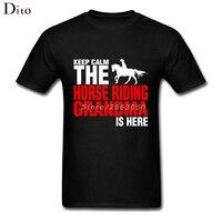 Keep Calm The Horse Riding Grandma Is Here Tees Shirt For Men Summer Custom Short Sleeve