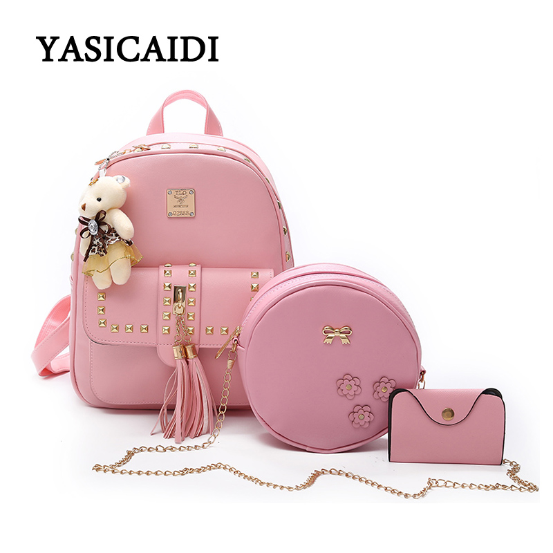 Women Backpack High Quality School Bags for Teenage Girls Cute Rivet Bookbags PU Leather 3 Set Bowknot Backpacks Mochila Feminin backpack women school bags brand backpacks women high quality large capacity teenager backpacks for teenage girls student bags