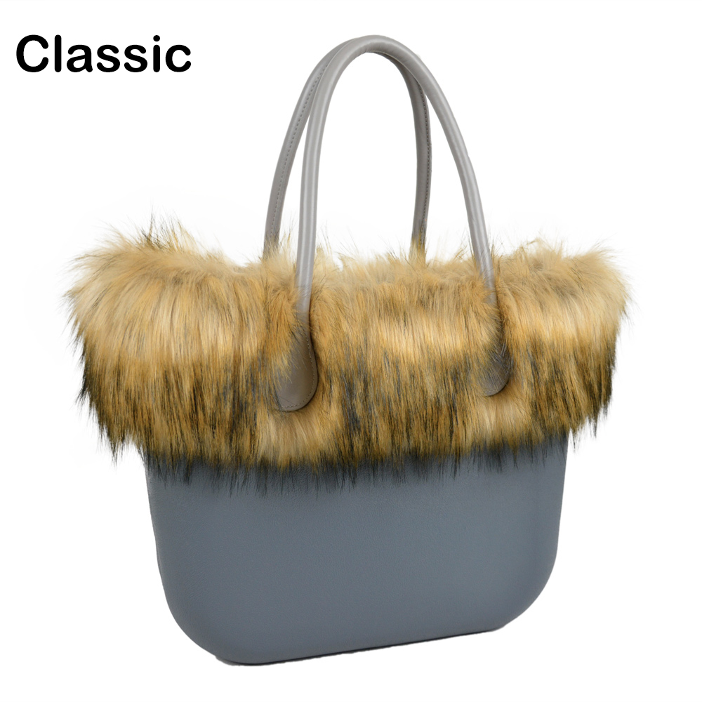 ANLAIBEIER Classic big EVA bag Obag style complete AMbag with Racoon dog Fur trim inner pocket insert handles handbag tanqu tela insert lining for o chic ochic colorful canvas inner pocket waterproof inner pocket for obag