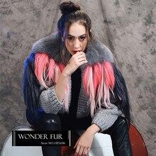 Good Quality Wool Blends Sweater Original Design Fox Fur Collar With Goat Fur Decoration Knitting Fur Cardigan Morden Fur Jacket