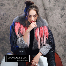 Good Quality Wool Blends Sweater Original Design Fox Fur Collar With Goat Fur Decoration Knitting Fur Cardigan Morden Fur Jacket