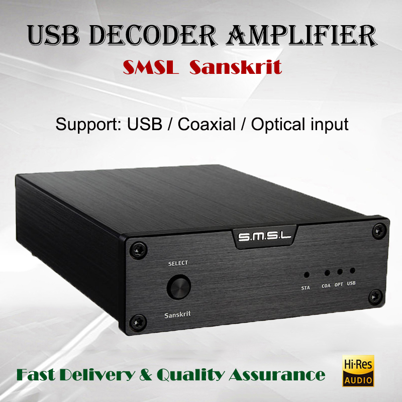 SMSL Sanskrit 6th Decoder Amplifier USB DAC Audio AMP Hi-fi Portable Decodificador 32bit Power Amplificador new version smsl latest 6th sanskrit 32bit 192khz coaxial spdif optical usb dac hifi audio amplifier decoder with power adapter