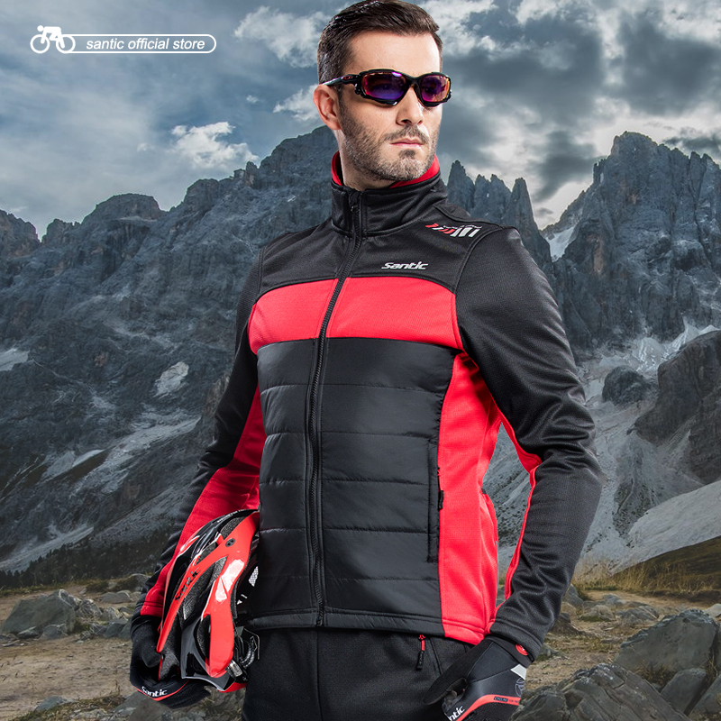 Santic Men Cycling Winter Fleece Jackets Long Sleeve Thermal Ciclismo Windproof Cheap Cycling Thermal Fleece Jackets M5C01059R/V цена