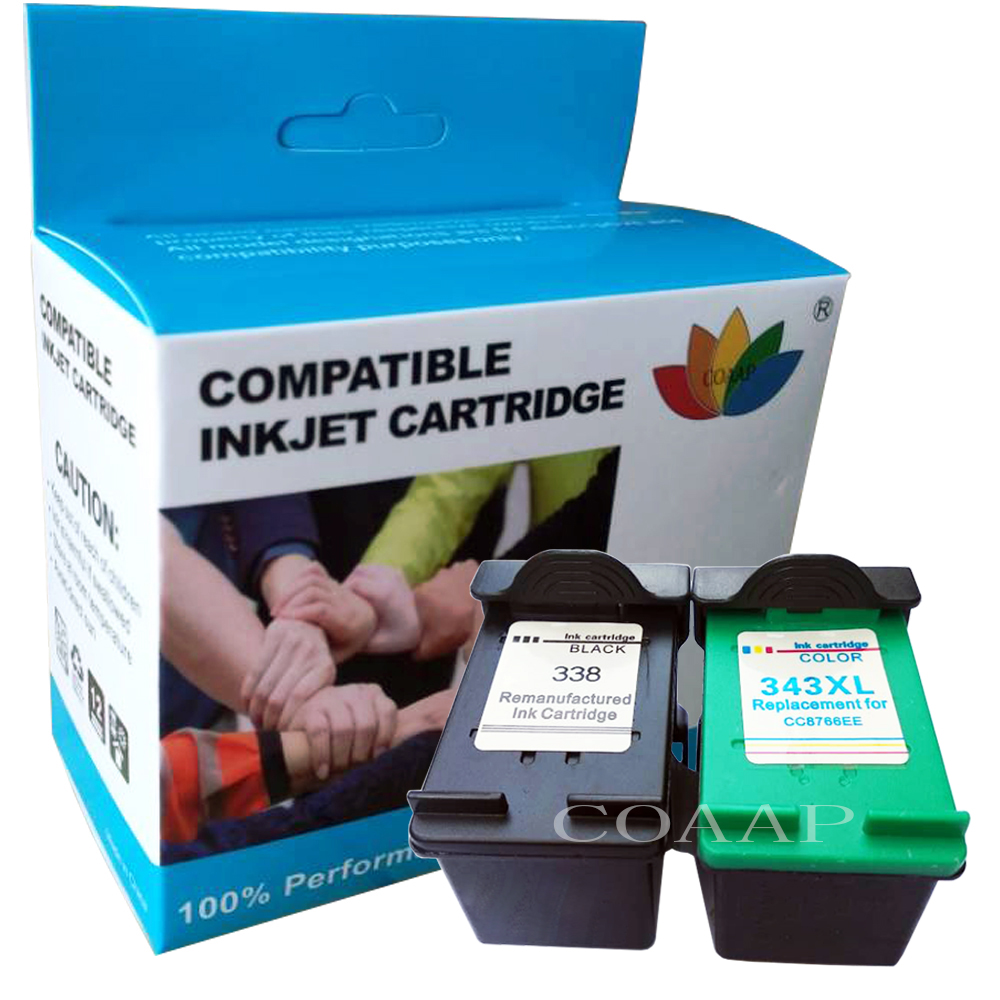 1Set <font><b>Ink</b></font> Cartridge Compatible For <font><b>HP</b></font> 338 343 for Photosmart <font><b>C3100</b></font> C3110 C3140 C3150 C3170 C3180 C3190 Officejet 7210 7310 7410 image