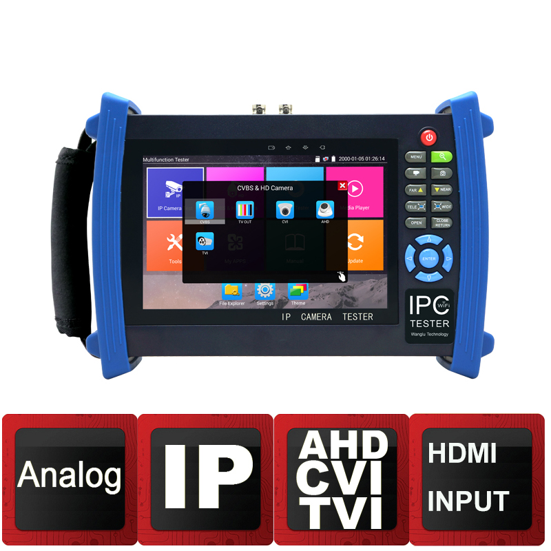 New 7 inch Retina Screen 4K H.265 IP Camera Tester Analog TVI AHD CVI CCTV tester monitor with Cable tracer HDMI Input Wifi POE ipc9300 ipc wifi ahd tvi cvi analog 4 3 touchscreen cctv tester for ip analog camera 1080p bnc network cable tester wifi 8gb