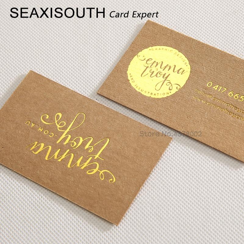 Color Edge Cards Gold Foil Kraft Paper Business Card Kraft
