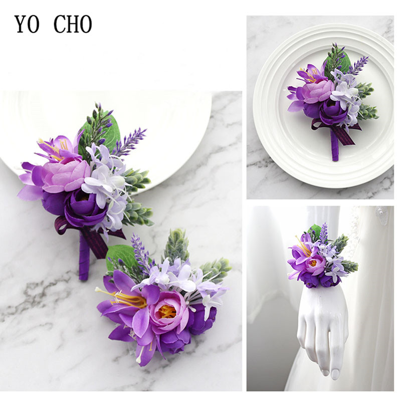 YO CHO Wedding Boutonniere Wrist Corsage Bracelet Bridesmaid Men Corsage Purple Silk Roses Orchid Marriage Prom Wedding Supplies