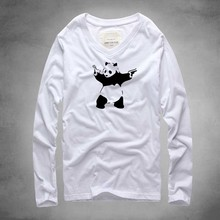 New brand fashion 2016 Men v neck Long Sleeve Tee Shirts Man Hip Hop t-shirts cute panda tshirts Men Camisetas Clothing