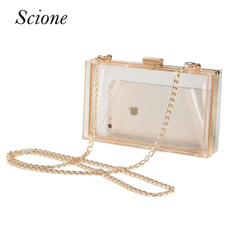 2018 Acrylic Transparent Clutch Chain Box Bag Women Shoulder Messenger Bags Wedding Party Day Clutch Purse Wallet Handbags Li706