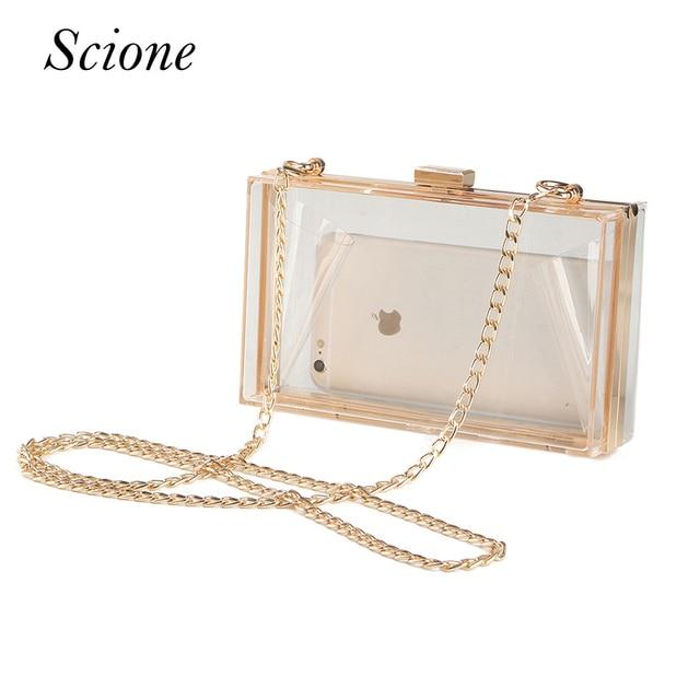 Acrylic Transparent Clutch Chain Box Bag Women Shoulder Messenger Bags Wedding Party Day Clutch Purse Wallet Handbags Li706