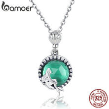 BAMOER Genuine 925 Sterling Silver Romantic Fairy Story Light Green CZ Pendant Necklaces Women Sterling Silver Jewelry SCN262(China)