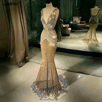 Fashion Sexy Deep V Neck Backless Mermaid Formal Prom Party Dresses Sweep Train Gold Evening Dresses 2019