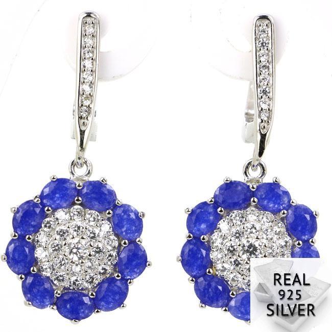 5,1g Echt 925 Solide Sterling Silber Deluxe Blume Form Echt Blau Sapphire Cz Hochzeit Ohrringe 34x15mm