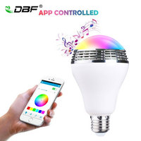 LED Bluetooth Speaker DBF E27 10W Bluetooth Bulb Music Light Smartphone App Control LED Bulb Dimmable