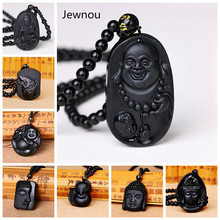 Jewnou Obsidian Buddha Necklace Bead Chain Lucky Crystal Men Jewelry Women Gemstone Carving Amulet Blessing Anime Praying Hands obsidian necklace natural stone wolf head pendant buddha guardian ball chain carving amulet with obsidian blessing lucky jewelry