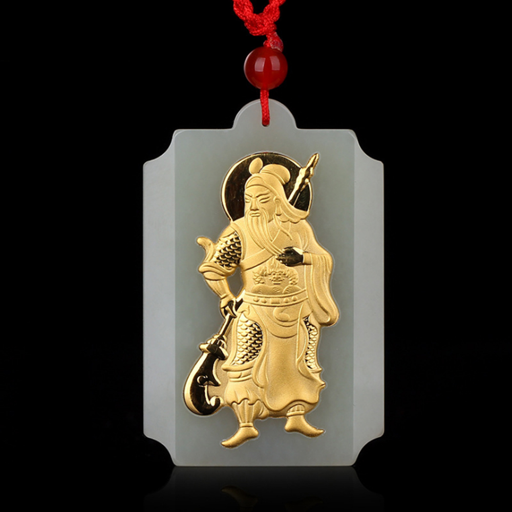 Real Gold Necklace Natural Jade Gold GuanYun Necklace Pendant Hand-Carved Lucky Amulet Pendant Men's Jewelry harbll ar pendant accessories gold plated double gourd glass beads amulet for safe driving lucky blessing car pendant