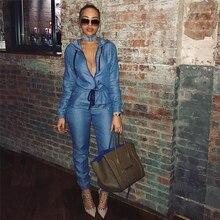 61ccde0b869 Womens Denim Jumpsuit Blue Long Pants 2018 Fashion Bodysuit Zipper Playsuit  Plus Size Women Clothing Working