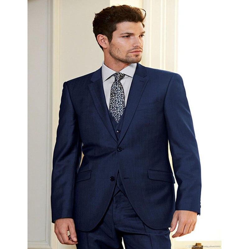 The Style Mesure Homme Britannique Pantalon Revers Hommes 2017 Gilet Trois Costumes As Sur Suit Effectuer veste Terno custom Image Notch Marine Bleu Pièces Made q51ntWA