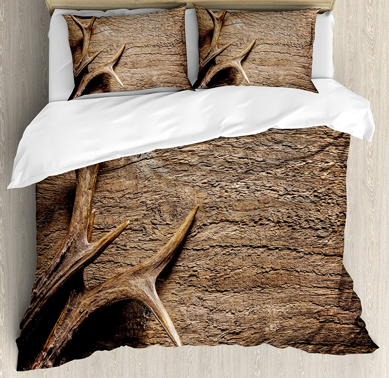 Duvet Cover Set, Deer Antlers on Wood Table Rustic Texture Surface Hunting Season Decorating, 4 Piece Bedding Set