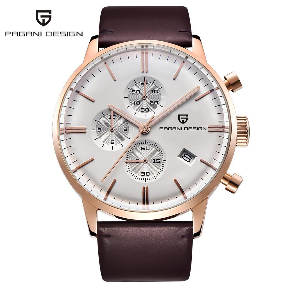 Fashion Chronograph Sports Watches Men 30m Genuine Leather Quartz Watch Luxury Brand PAGANI DESIGN Relogio Masculino