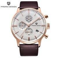 Fashion Chronograph Sports Watches Men Dive 30m Genuine Leather Quartz Watch Luxury Brand PAGANI DESIGN Relogio