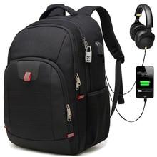 Super large Men Backpack Business Commuting Laptop Travel Bag Pack USB Reflective stripe Black Anti-theft Lock Amazon same style
