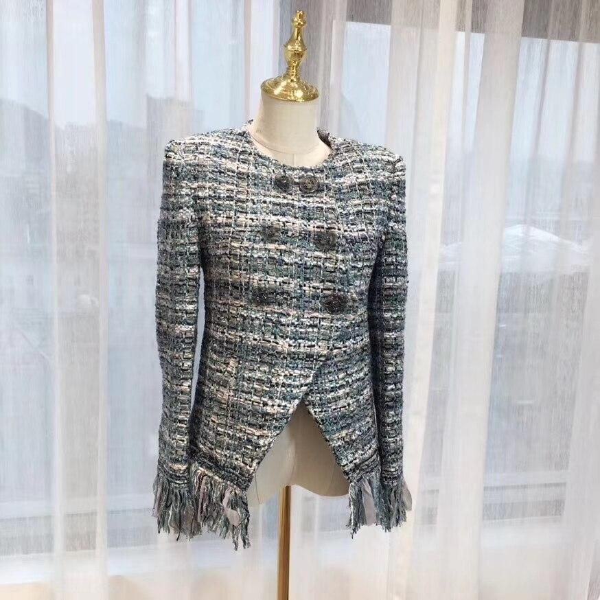 Tweed Hiver Casaco Mujer Gland Veste Manteau Élégante Incroyable Femme Femmes Laine Automne Chaqueta Feminino Casual dqnYv