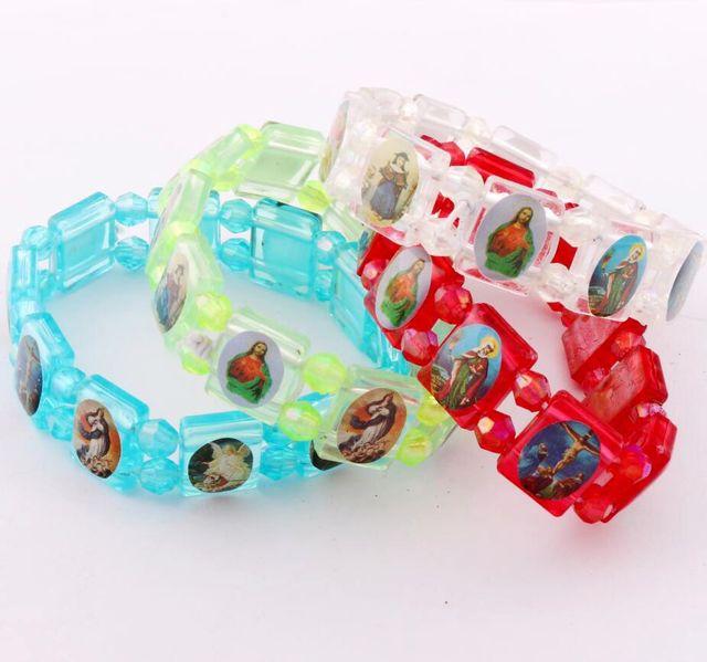 4colors Catholic Squares Kid Bracelet With Religious Image Spring Plastic Bracelets Br29