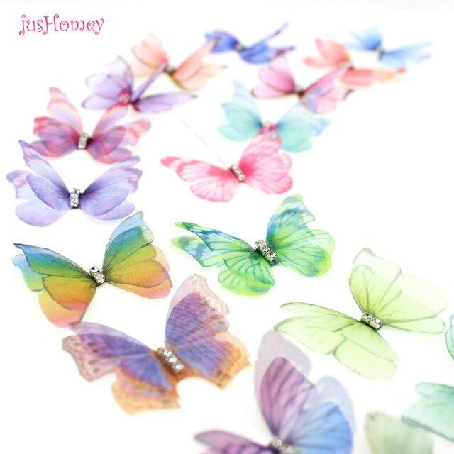 100 adet degrade renk organze kumaş kelebek aplikler saydam şifon kelebek parti dekor, bebek süsleme