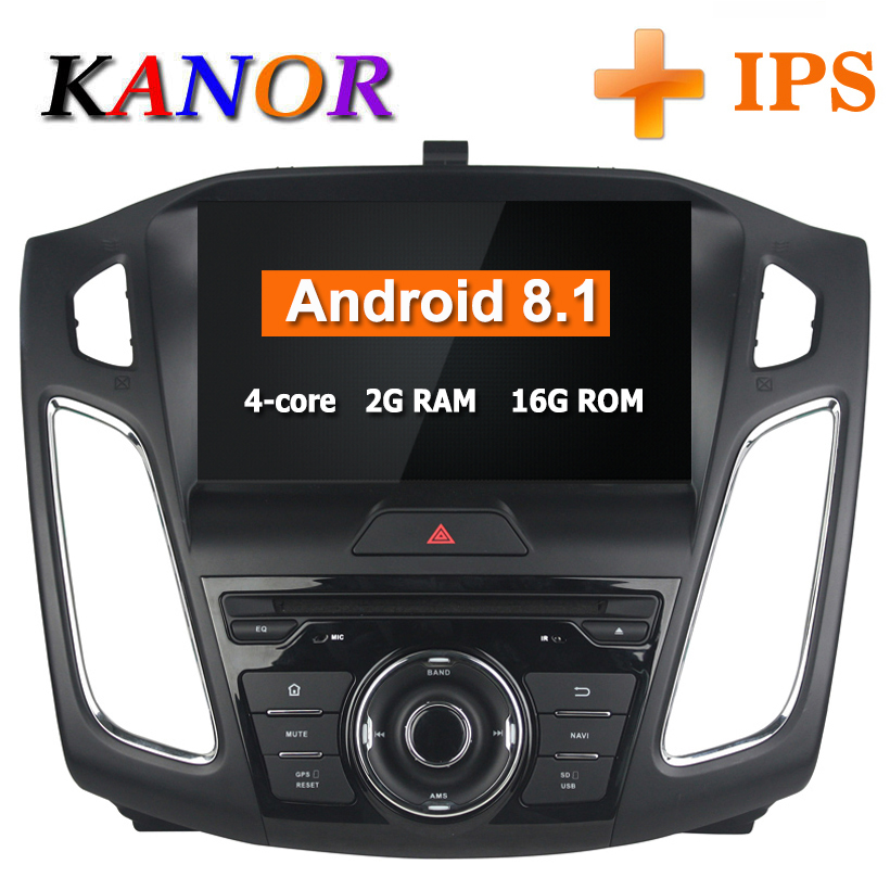 KANOR 9 polegada IPS Quad Core Android 8.1 GPS de Rádio Para Ford Focus 2015 2016 Carro DVD Player De Vídeo GPS bluetooth WI-FI