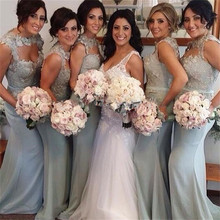 2015 Gray Bridesmaid Dress Sweetheart Appliques Sashes Satin Mermaid Floor-Length Robe Demoiselle Honneur Biridesmaid Dresses