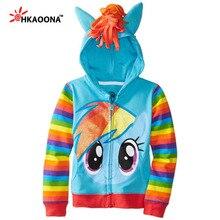 Conçu Automne Filles Little Pony Sweat Mignon Animal de Bande Dessinée Impression Survêtement Queue de Cheval Capot Solide/Rayé Manches Enfants Vêtements