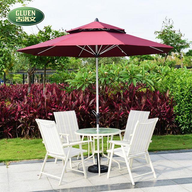 Korean Round 2.7 M White Parasol Umbrella Tables And Chairs Teslin Outdoor  Cafe Umbrellas Balconies Made