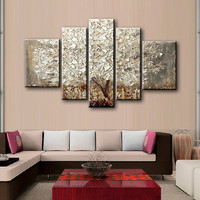 Large 5 Piece Wall Art Picture Hand painted Knife Flowers Oil Paintings Silver Acrylic Floral Painting on Canvas Home Decoration